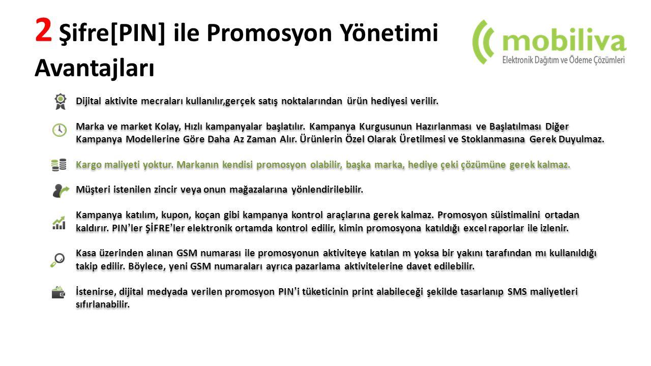 2 Şifre[PIN] ile Promosyon Yönetimi Avantajları